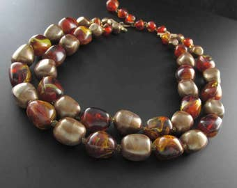 Brown Bead Necklace, Multi Strand Necklace, Layered Necklace, Faux Amber Bead Necklace, Brown Necklace
