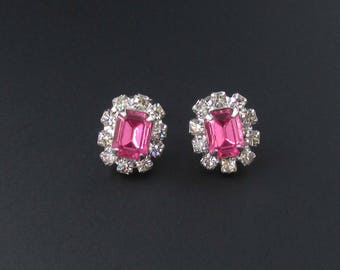 Pink Rhinestone Earrings, Small Earrings, Rectangular Earrings, Prom Earrings, Pink Earrings, Rhinestone Earrings