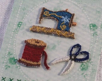 Sewing Set Patch - Embroidered Iron On Patch, Bobbin, Sewing Machine, Scissors, Japanese Iron on Applique, Embroidery Applique, 3PCS, W325