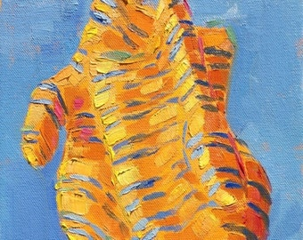 orange and blue stripped mittens oil sketch 8x10