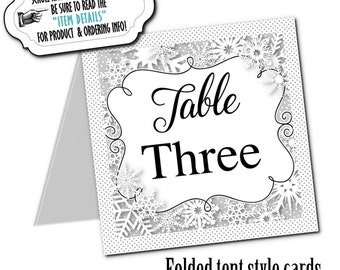 Table Number Cards, Buffet Table Cards, Winter Snowflakes, Wedding, Rehearsal Dinner, Bridal Shower, Baby Shower, Birthday, Silver, Gold