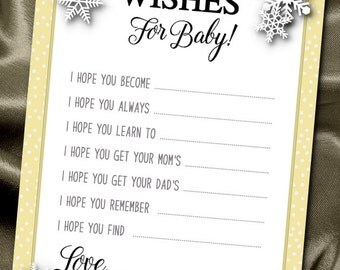 10  Wishes for Baby Cards, Baby Shower Party Games, Activity Game Cards, Winter Snowflakes, Silver or Gold