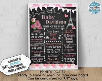 PRINTED Baby Shower Poster, 11 x 14, 16 x 20, 18 x 24, French Paris Eiffel Tower, Pink Roses, Chalkboard Look, Ready to Frame