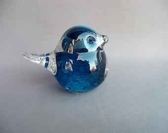 Hand Blown Art Glass Turquoise  Bird
