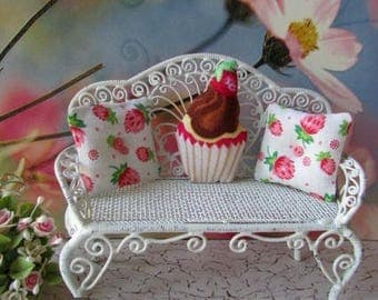 Dollhouse Miniature Cupcake and floral Pillows ooak cottage cute