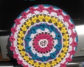READY to SHIP Hippie Peace Sign with flowers Tire Cozy Spare Tire Cover Crocheted free shipping Perfect for Hummer Jeep Kia Honda CRV Toyota