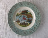 Vintage Turquoise Pennsylvania Souvenir Plate Large 10 Inch Decorative Collector Retro Wall Decor