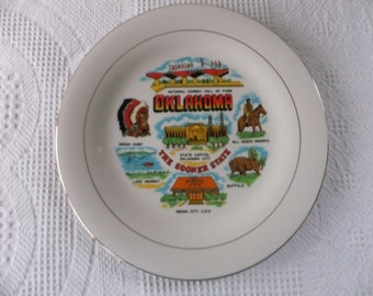 Vintage Oklahoma Souvenir Plate Large The Sooner State Decorative Collector Travel Vacation Retro Wall Decor