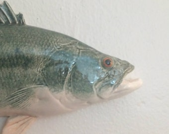 Small Largemouth Bass - Green Ceramic Fish - 0103