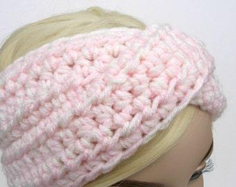 Turban Headband, Crochet Headband, Baby Pink Headband, Winter Headband, Ear Warmer Headband, Womens Headband, Knit Turban Headband