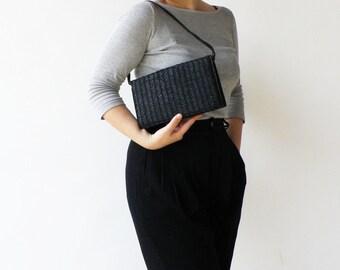Vintage Black Straw Purse / Straw Bag