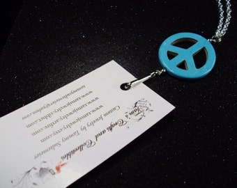 Blue turquoise Howlite Peace sign Gemstones and Silver chain Identification lanyard necklace