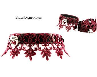 BDSM Collar Unique Patrice Vine Matte Leather Slave With Filagree Lace Kitty Fetish Kitten DDLG Romantic Gift - Daddy Domme