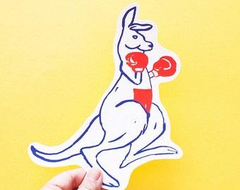SALE Kangaroo Big Individual WATERPROOF Sticker - Vinyl Stickers -Hand Drawn Sticker - Handmade Sticker