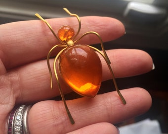 Amber Spider Brooch - Vintage Jewelry