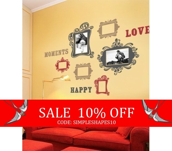 Sale - Vintage Photo Frames Deluxe Three Color - Vinyl Wall Sticker