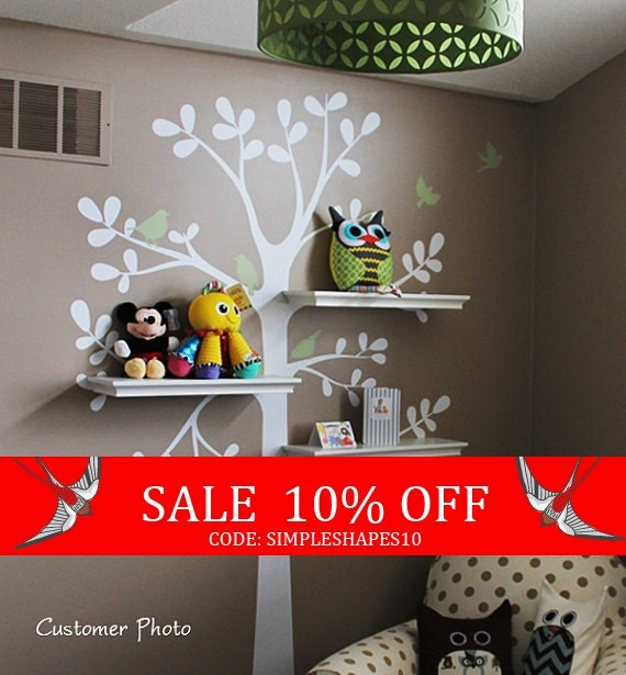 Sale - kids wall decal - The ORIGINAL Shelving Tree with Birds - Tree Wall Decal - Shelving tree decal - wall decal - baby nursery decal