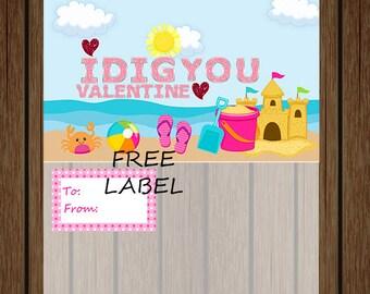 Valentine's Day I Dig You Bag Topper, Free Label Included, Girls I Dig You Bag Topper