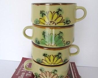 Vintage Soup Bowls Flower Design 1980s