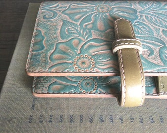 leather binder, hand dyed, smorky turquoise, hand dyed, leather planner, planner binder, vegetable tanned, handstitched, natural diary