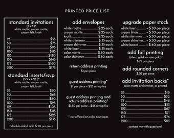 PRINTED INVITATIONS | Price List