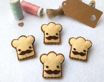 Mr. Moustache Toast, Sandwich Pin, Cute Pin, Moustache, Moustache Toast, Felt Brooch, Food Pin, Kawaii Pin, birthday favors, stocking filler