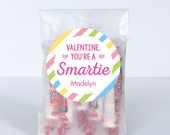 Valentine's Day Stickers - Valentine, You're a SMARTIE (Pastel) - Sheet of 12 or 24