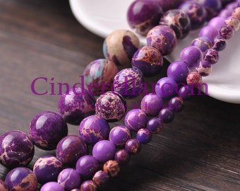 Wholesale 40/50/60/100pcs 4mm 6mm 8mm 10mm Round Purple Imperial Jasper Natural Gemstone Loose Spacer Beads Jewelry Findings....BS065