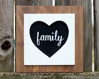 Family Sign ~ Wooden Family Sign ~ Farmhouse Family Sign ~ Rustic Family Sign ~ Family Heart Sign ~ Farmhouse Decor ~ Wooden Heart Sign