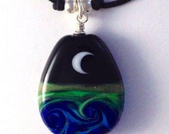 Moon & Ocean Handmade Lampwork Glass Bead Cord Necklace - Sterling Silver