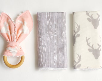 Perfect Baby Gift Bundle- 2 Burp Cloths and Wooden Teething Toy (buck forest)-READY TO SHIP