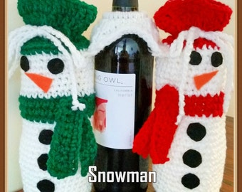 Snowman Wine and Glass Holder Crochet Pattern PDF- Instant Download
