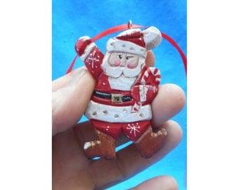 Wood Folk Art Santa Claus Christmas Tree Ornament