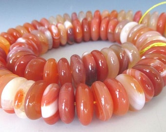 """Red Agate Smooth Large Rondelles 14-15mm 16"""" strand"""