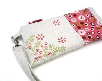 Wristlet purse, zipper pouch, casual, linen purse, wristlet clutch, wristlet wallet, clutch bag, detachable strap, phone wristlet