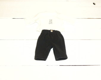 Black Fleece Pants and White Tshirt - 12 inch boy doll clothes