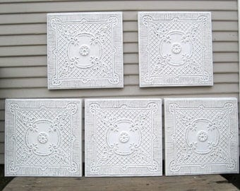 """Antique 17"""" Ceiling Tin Tiles. French country decor.  Framed Metal tile. Antique Architectural salvage. White distressed decor."""