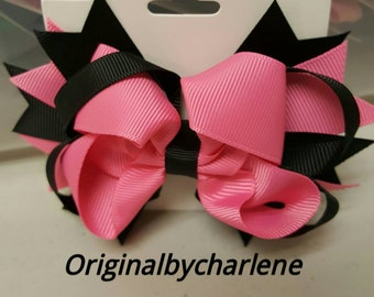 Boutique Black and Hot Pink Hairbow