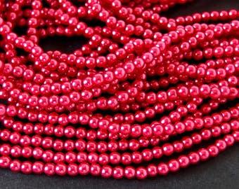 Dark Coral 3mm Glass Pearls, 60 Inch Strand