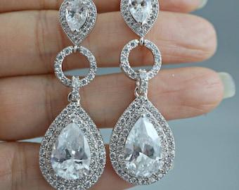 CZ Bridal earrings, Bridal post earrings, Wedding Earrings, Long Dangle Teardrop, Bridal Jewelry, Teardrop CZ Cubic Zirconia Drops