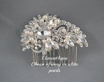 Bridal rhinestone Comb, Crystal Comb, Bridal Combl, Wedding Hair Comb, Swarovski pearls, Ivory White Wedding Accessory, Bridal Headpiece