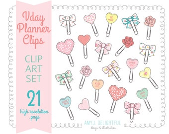 Valentines PLANNER CLIPS! Clip Art Set for personal and commercial use-planners, bando, happy planner, planner clips, hearts, bows, roses
