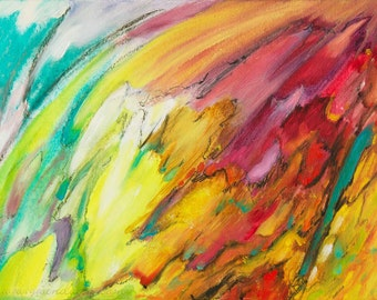 Abstract Oil Painting on Paper Teal, Yellow, Gold, Red, Black, Original Fine Art, Contemporary Art