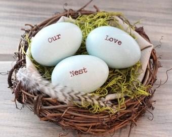 1-3 custom text eggs, Personalized eggs, customized quote, custom writing, custom bird eggs, nest centerpiece, gift for moms