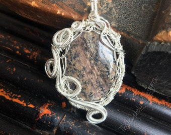 Ready to Ship, Agate Pass pendant, Silver and Honey Dendritic Agate , ThePurpleLilyDesigns