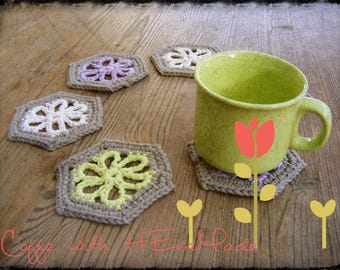 Coffee coasters rustic coaster set pastel floral kitchen decor drink barware drinkware recycled cotton