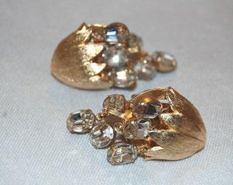 Vintage / Rhinestone / Clear / Earrings / Large / Dangle / old jewellery jewelry