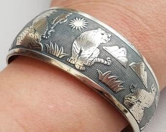 Silver Tiger Bracelet, Tiger Bangle, Slate Gray Patina, Silver Bangle, Boho Jewelry, Ethnic, Tiger Jewelry, Big Cat Bangle