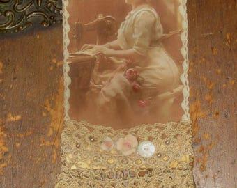 Vintage Lace Collage Edwardian Seamstress Lady Embellished Tag