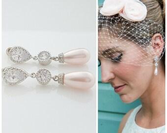 Pink Bridal Earrings Blush Pink Pearl Earrings Teardrop Crystal Pearl Earrings Swarovski Pink Pearl Drops Pink Wedding Jewelry, Adalyn